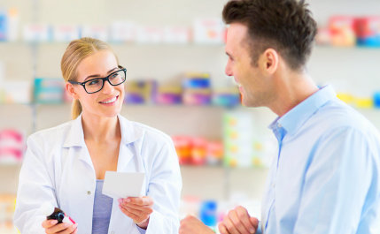 pharmacist and costumer