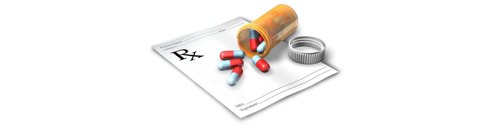 prescription paper with a medicine
